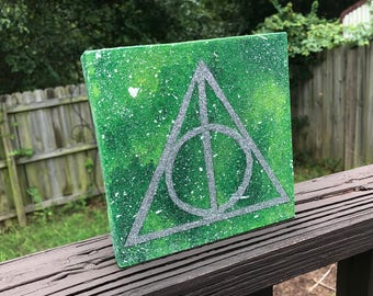 """Clearance - """"Slytherin"""" - Painted Freestanding Canvas Inspired by Harry Potter"""