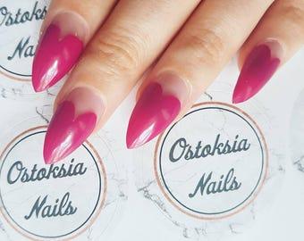 Heart Stiletto Nails