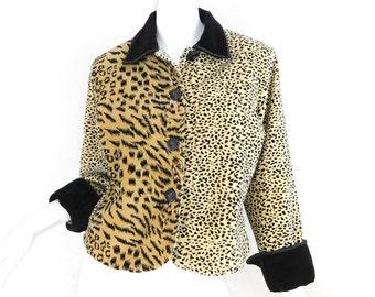Sz S 80s Velvet Animal Print Jacket - Vintage Women's Boxy Leopard Cheetah Black Collared Jacket - Small 1980s 1990s Alternative Clothing