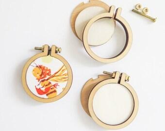 """3 Mini Embroidery Hoops   1.6"""" (40mm) Embroidery Hoops from Dandelyne, Circular Mini Hoops, DIY Jewelry Hoop Art"""
