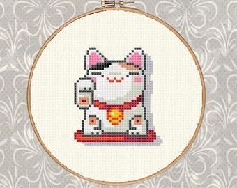 Maneki-neko, Lucky Cat, Cute Cat, White Cat, Rich Cat, Good Cat Cross Stitch Pattern+Easy Cross Stitch Pattern