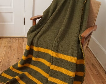 "Army Olive Green and Gold Vintage Crocheted Afghan  74"" x 46"""