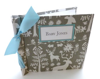 Baby Book / Baby Boy / Grey and Blue baby book / Animal Baby Book - 8x8 size-choose your ribbon color