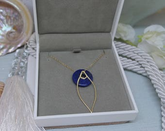 9ct gold filled chain necklace with 14ct gold vermeil marquise pendant and lapis lazuli charm