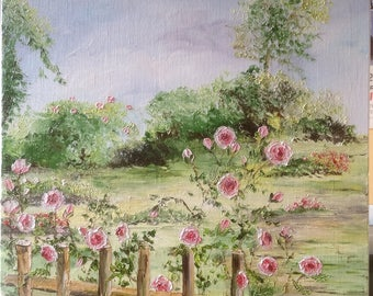 "Palette knife oil painting ""flowered fence"" table bucolic English garden"