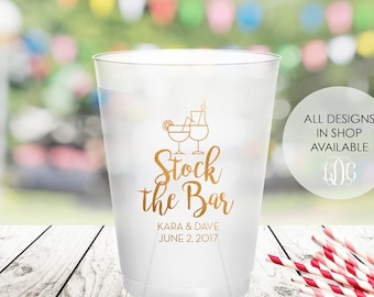Stock the bar party frosted cups, personalized shatterproof cup, custom plastic cup, couples shower decorations, cocktails cups