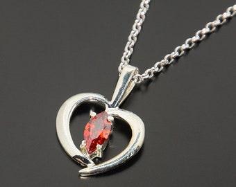 Heart pendant, Heart necklace, Garnet pendant, Garnet necklace, Romantic necklace, Romantic pendant, Love necklace, Love pendant