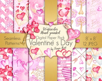 Hearts Digital Paper Pack, Valentine's Digital Paper, Love Digital Paper, Heart Digital Paper, Scrapbook Paper, Pink Digital paper