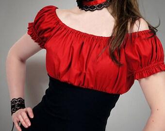 Gypsy blouse red goth boho puffy sleeves