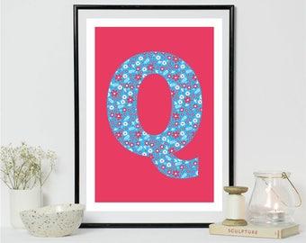 Q Alphabet A4 Print Digital Print