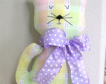 Handmade Stuffed Cat - Yellow, Purple Pastels Fabric Kitty - Shabby Cottage Chic Home Decor - Cat Lover Gift - Decorative Cat Doll
