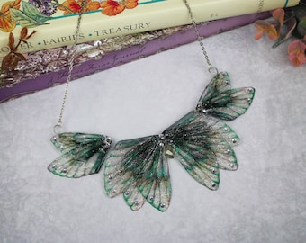 Enchanting Deep Green Fairy Wing/Butterfly/Cicada Statement Collar Necklace