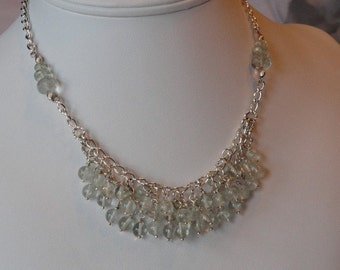 Green Amethyst beaded necklace  -  98
