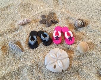 Miniature Dollhouse Flip Flops Girl and Boy - Both Pairs Included - Half Scale - Beach Miniatures - Beach Terrarium - Wedding Cake Topper