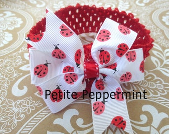 Baby headband, baby girl headband, newborn headband, toddler headband,ladybug baby headband,ladybug bow headband,baby bow headband