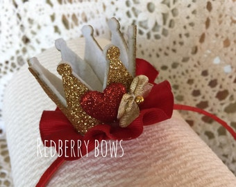 """QUEEN of HEARTS CROWN Headband with Red Heart, Gold Bow and Red Ruffle-Approximately 2""""x2"""""""