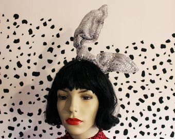Handmade shiny silver sequin bunny ears fascinator hair comb