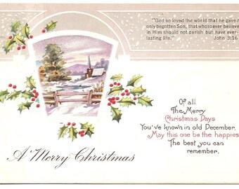 Vintage 1923 Postcard -  A Merry Christmas  - used - Embossed