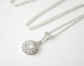 Crystal Pendant, Bridal Necklace, Small CZ Pendant, Bridal Necklace, Wedding Necklace