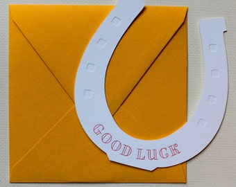 Good Luck Horse Shoe Letterpress Greeting Card