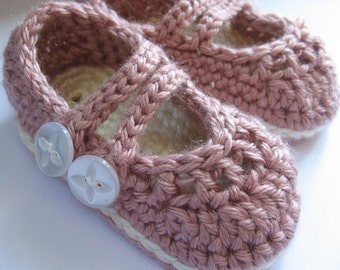 Crochet Baby Booties 2 Strap Mary Janes You Choose Size