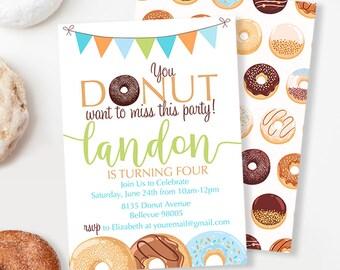 Donut Birthday Invitation, Donut Party Invitation, Boys Birthday Party Invitation, Double Sided Invitation