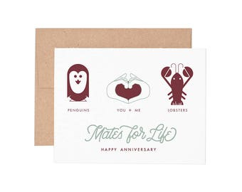 Mates for Life Letterpress Greeting Card - Blank Card | Anniversary | Love Card | Valentine's Day | Greeting Cards