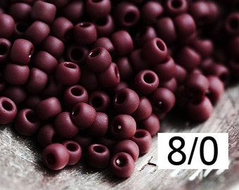 TOHO Dark brown beads size 8/0 Opaque Frosted Oxblood N 46F rocailles brown glass beads - 10g - S906