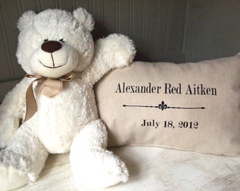 Baby Newborn Gift | Custom Pillow | Farmhouse Style | Vintage Grain Sack Style | Pillow Cover With Name and Birthdate