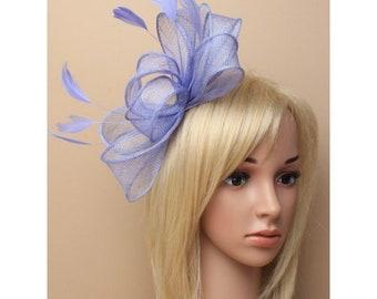 Large Blue feather fascinator, wedding fascinator, blue flower fascinator, blue church hat, bridal fascinator, wedding headpiece, fascinator