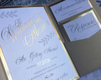 Gold Wedding Invitations. Genuine gold foil with belly band suite pocket invite. Glam, luxury and chic wedding decor.