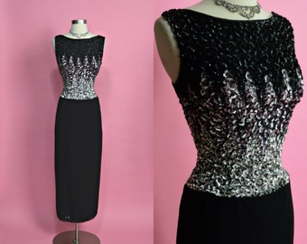 "MR FRANK New York 1950's 1960's Vintage Black and Silver Sequin Sparkly Long Evening Gown Party Dress New Years Eve Holiday Dress 27"" Waist"