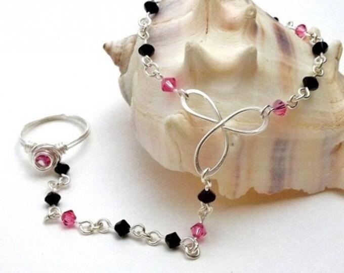 October Birthstone Slave Bracelet Ring Attached Pink Tourmaline & Black Swarovski Crystals