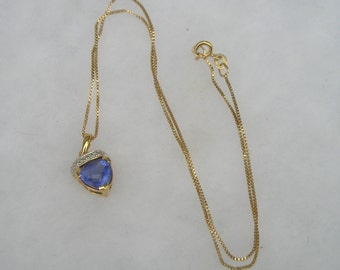 Pretty Gold over Sterling 925 Tanzanite Blue Purple Gemstone  Pendant Necklace Ross Simons