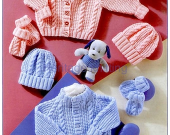 Knitting Pattern- Baby boys girls Cable cardigans-hats- mitts in DK Wool  99p pdf