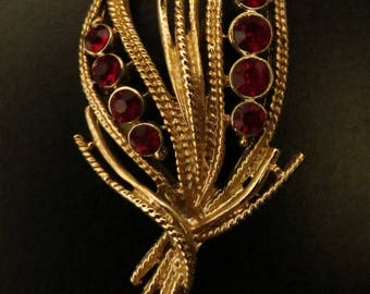 Vintage Brooch, Costume Jewelry, Gold, Garnet, Retro, Accessories