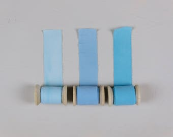 Light Blue Hand Dyed Ribbons - Bouquet Ribbons - Styling Ribbons - Packaging Ribbons