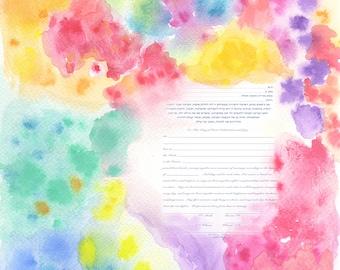 Ketubah Creation (Marriage Contract), Colourful Ketuba, Modern Ketubah, Contemporary Ketubah, Watercolour Ketubah, כתובה, Modern Marriage