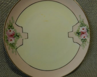 Vintage hand painted roses plate