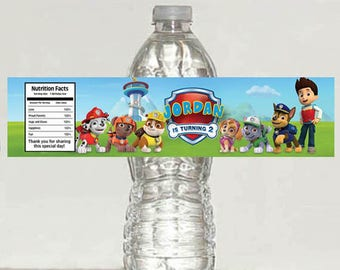 5 personalized Paw Patrol Birthday Water Bottle Labels