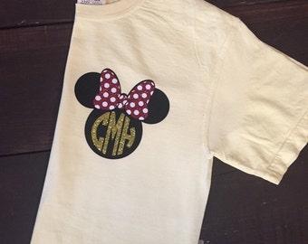 Minnie Disney Tank - Minnie Ears Monogram - Glitter Vinyl - Disney Monogram Tank - Disney Shirt - Pocket Monogram - Family Shirts
