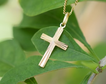 GOLD cross, Engraved gold cross pendant, carved cross, Christian jewelry, Christening Baptism First Communion Confirmation Wedding gift