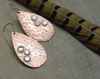 Copper teardrop earrings distressed copper jewelry 7th anniversary gift for her copper anniversary unique earrings tear drop earrings boho