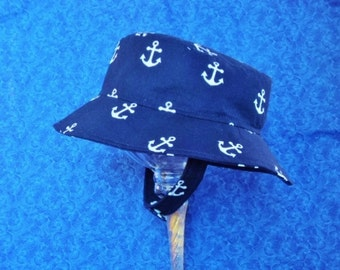 Nautical Toddler Bucket Hat Sun Hat Navy Blue with Anchors Chin Strap with Snaps