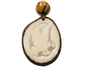 Tagua Nut Necklace: Eagle (1153-N466)  P13