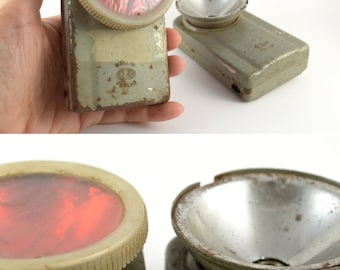 Vintage Military Flashlight Set / Two Vintage Pocket Lanterns / Army Flashlight / Collectible Pocket Lamp / Metal Torch / Rustic Home Decor