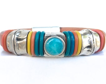 Leather Cuff Bracelet - Leather Jewelry  Bohemian Bracelet - Leather Bracelet for Women - Trendy