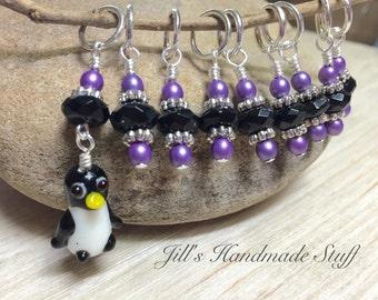 Penguin Stitch Marker Set | Knitting Gift | SNAG FREE Knitting Markers