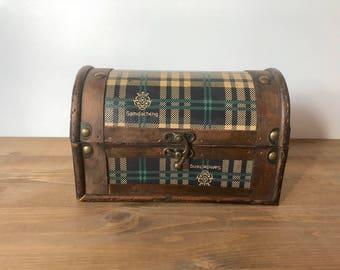 Plaid & Wood Storage Case , Samdacheng , Keepsake Box , Rustic Wooden Case