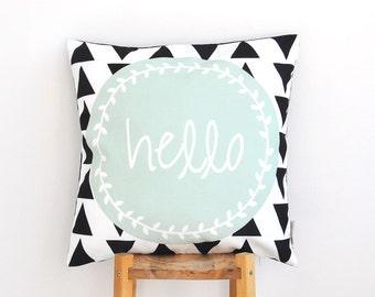 "Mint Throw Pillow, Geometric Decorative Pillow, Cushion Cover, Throw Pillow, Modern Nursery Pillow 16"" x 16"""